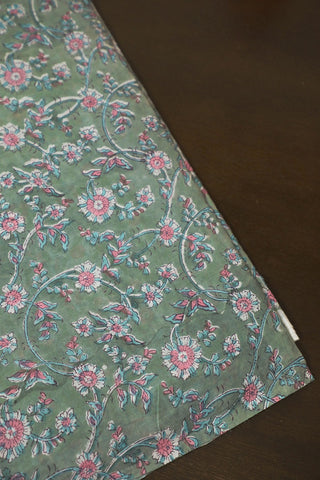 Greyish Green with Pink Floral Block Printed Mul Cotton Fabric