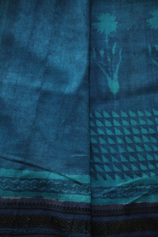 Double Shaded Blue Green Thread Border Tussar Silk Saree