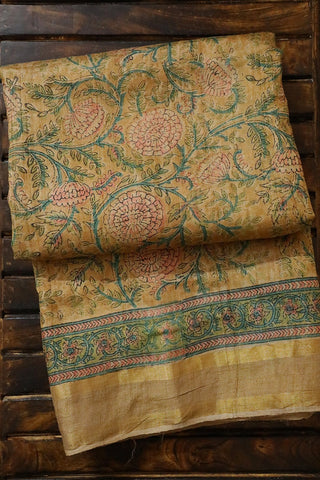Beige Flowers Zari Border Tussar silk Saree