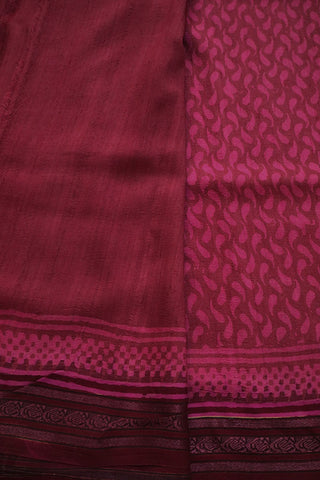 Maroon with Pink Vidarbha Border Tussar silk Saree