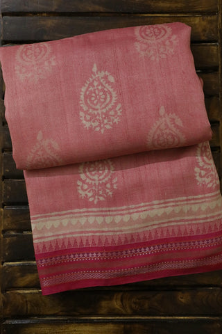 Light Pink with Paisley Vidarbha Border Tussar silk Saree
