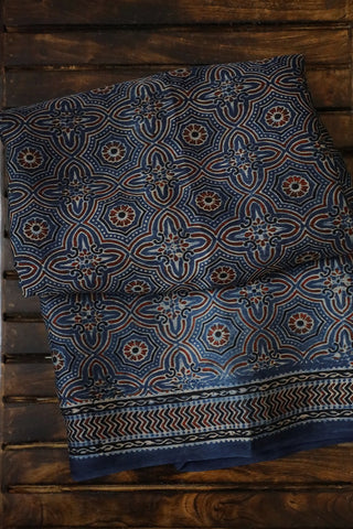 Subdued Indigo Blue Modal Silk Saree