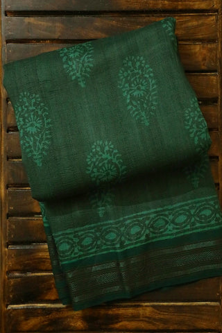 Dark Green Dabu Print Vidarbha Border Tussar silk Saree