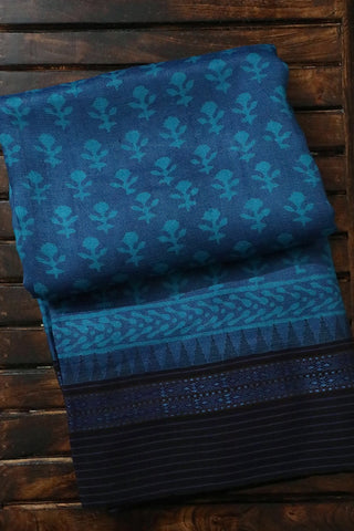 Shades of Blue Vidarbha Border Tussar Silk Saree