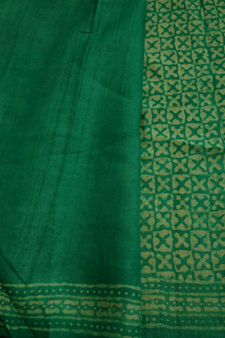 Green with Off White Bagru Block Printed Tussar Silk Saree
