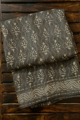 Dark Grey Dabu Print Tussar Silk Saree
