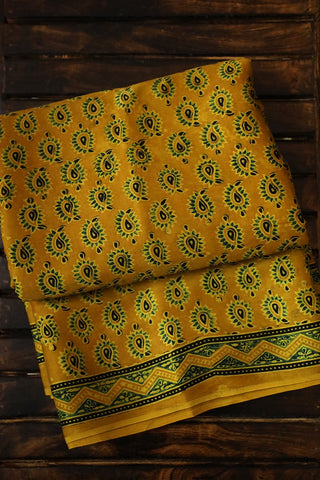 Green Paisley in Yellow Modal Silk Saree