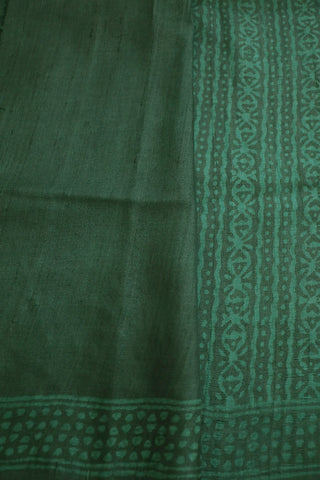 Dark Green Block Printed Tussar Silk Saree