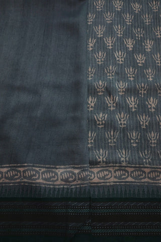 Blueish Grey Dabu Print Vidarbha Border Tussar silk Saree