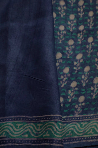 Off White Block Prints in Subdued Indigo Tussar silk Saree