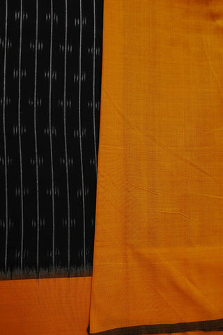 Black with Yellow Pochampally Handwoven Ikat Cotton Saree