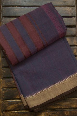 Greyish Purple with Small Temple Border Handwoven Cotton Saree