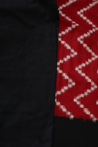 Red Zig Zag Pochampally Handwoven Ikat Cotton Saree