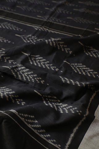 Black with Grey Pochampally Handwoven Ikat Cotton Saree