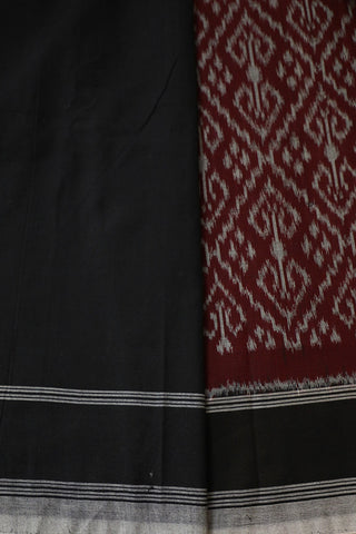 Grey with Maroon Pochampally Handwoven Ikat Cotton Saree