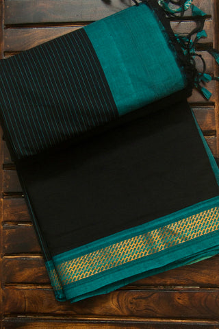 Black with Gold and Silver Zari Border Handwoven Cotton Saree