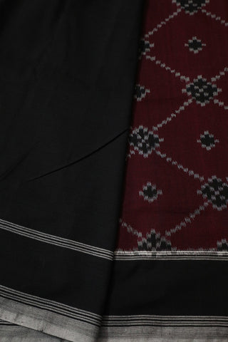 Maroon with Black Checks Patola Pattern kat Cotton Saree