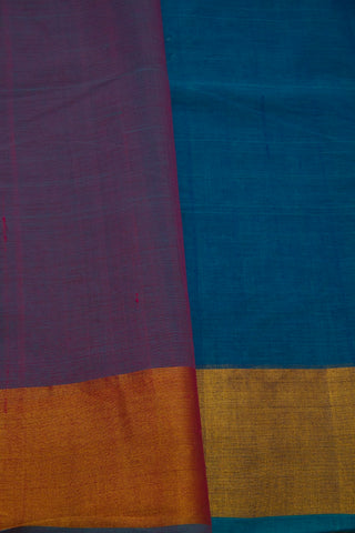Blue Gold and Silver Border Handwoven Cotton Saree