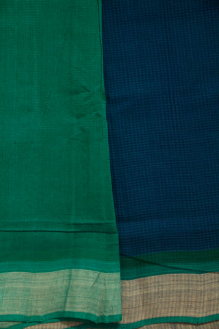 Peacock Blue with Missing Checks Handwoven Cotton Saree
