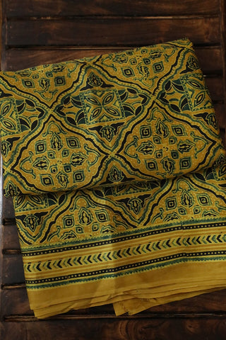Yellow with Black and Green Modal Silk Saree