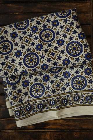 Off White with Indigo Circles Modal Silk Saree