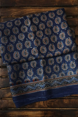 Indigo with Paisley Modal Silk Saree