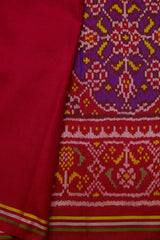 Purple with Red Textured Multicolour Patola Silk Saree