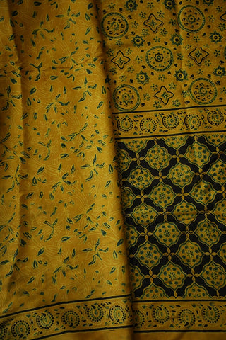 Yellow with Green Circles Modal Silk Saree