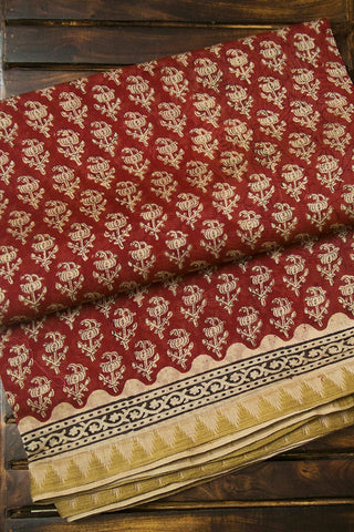 Bagru Block Printed Chanderi Saree
