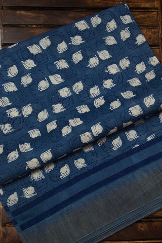 Indigo with Off White Chanderi Saree