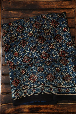 Brown and Black in Indigo Blue Ajrak Modal Silk Saree