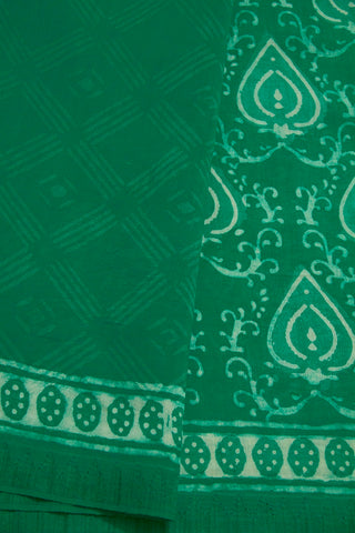 Green with off-white Block Printed Chanderi Saree
