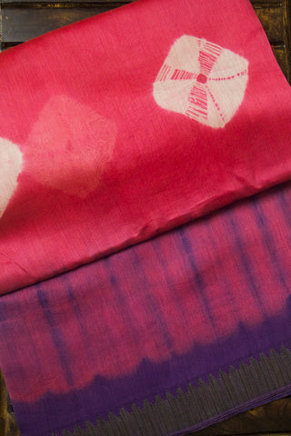 Half & Half Pink with Purple Chanderi Saree