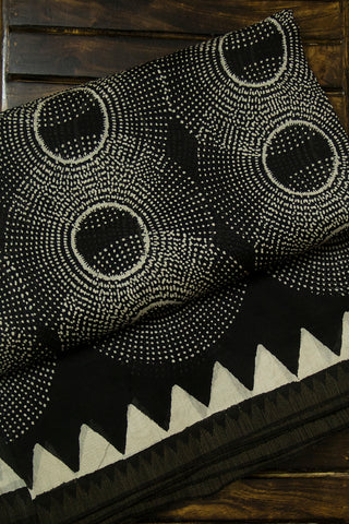 Black with White Dotted Circles Chanderi Saree
