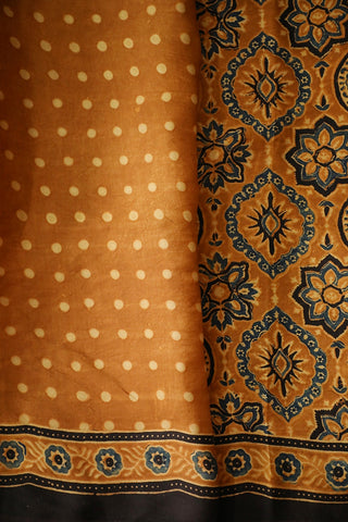 Brownish Orange Ajrak Modal Silk Saree