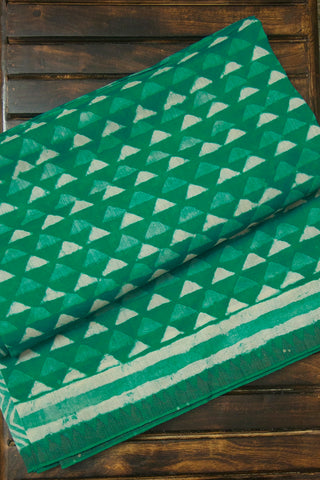 Green with Off White Triangles Block Printed Chanderi Saree