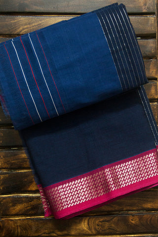 Shades of Blue with Pink Silver Border Handwoven Cotton Saree