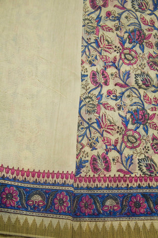 Blue Floral Block Printed Chanderi Saree