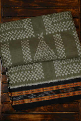 Light Greyish Green with Black Handwoven Orissa Ikat Saree