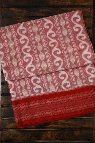 Shades of Red with White Handwoven Orissa Ikat Saree