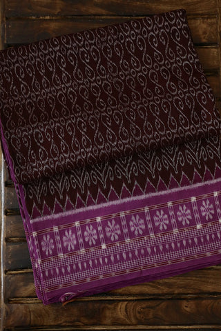 Dark Brown Handwoven Orissa Ikat Saree