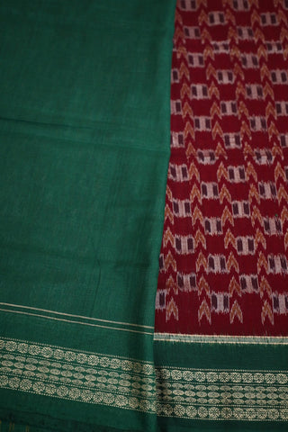 Maroon with Green Border Handwoven Orissa Ikat Saree