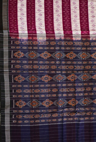 Off White Lines with Dark Pink Handwoven Orissa Ikat Saree