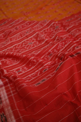 Maroonish Orange Handwoven Orissa Ikat Saree