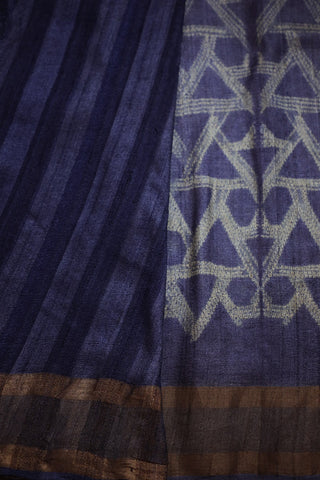 Subdued Purple Blue Tussar Silk Shibori Saree