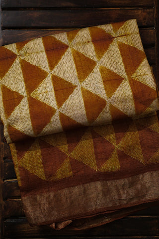 Golden Yellow Triangles Tussar Silk Shibori Saree
