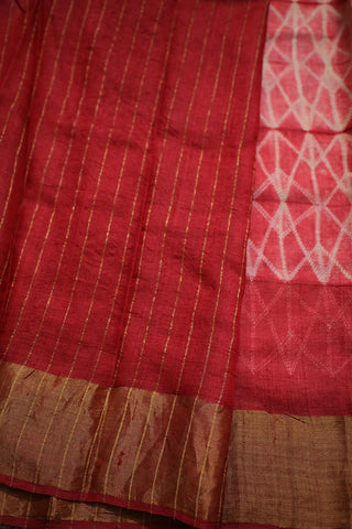 Off White Lines Tussar Silk Shibori Saree