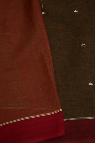 Grey with Brown Handwoven Cotton Saree