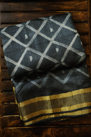Dark Grey Tussar Silk Shibori Saree