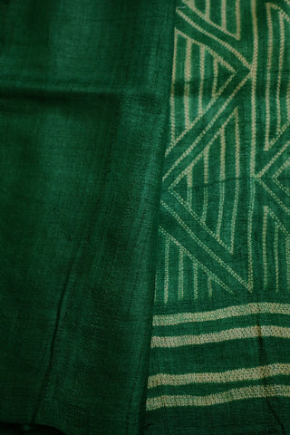 Green with Off White Triangles Tussar Silk Shibori Saree